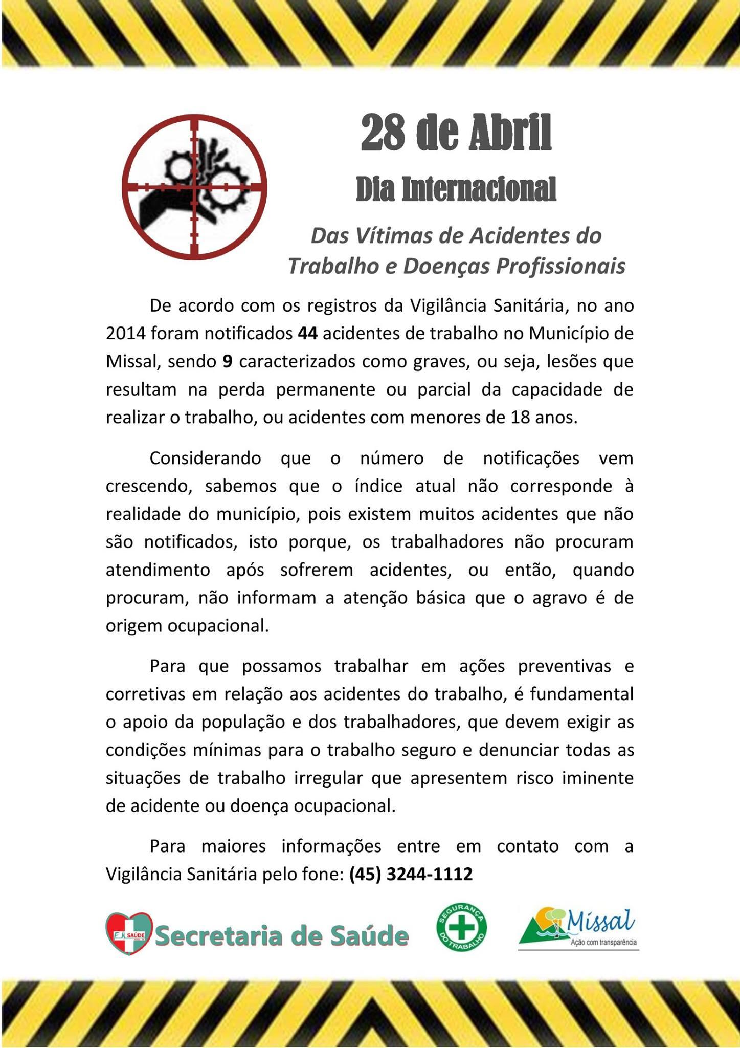 Dia Internacional Das V�timas de Acidentes do Trabalho e Doen�as Profissionais